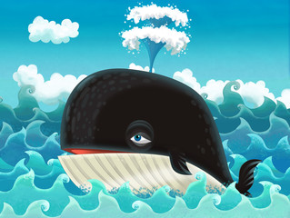 The cartoon whale - illustration for the children