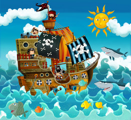 Poster Pirates The pirates on the sea - illustration for the children