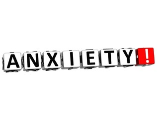 3D Anxiety Button Click Here Block Text