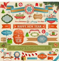 Wall Mural - Christmas set - vintage ribbons