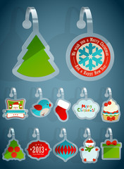 Wall Mural - Set of Christmas stickers.