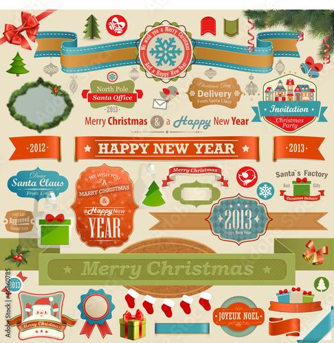 Wall mural Christmas set - vintage ribbons
