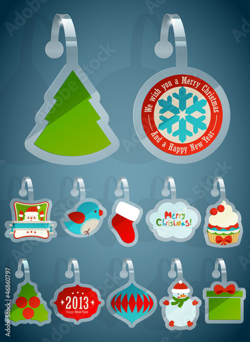 Wall mural Set of Christmas stickers.