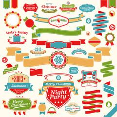 Wall Mural - Christmas set - colorful ribbons