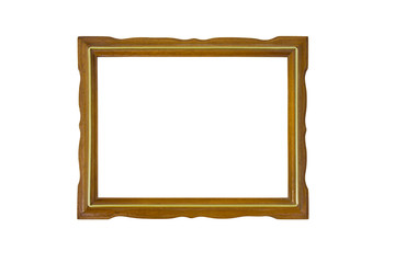Vintage wooden picture frame isolated on white background.