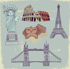 Self adhesive Wall Murals Doodle Famous World Landmarks, hand drawn
