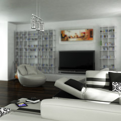 Flat with a white couch