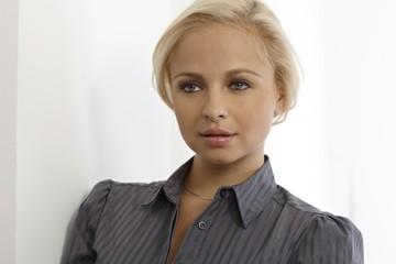 Closeup portrait of beautiful blonde