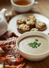 mushroom soup with parsley and stuffed field mushrooms