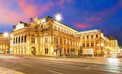 Garden Poster Vienna Vienna State Opera House at night, Austria, Theater