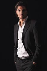 Handsome model in elegant dress