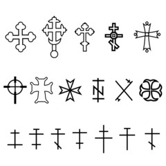 set of crosses in different style