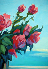 bouquet of scarlet roses at  open window with a view of the sea,