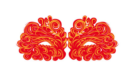 red vector carnival masks. abstract isolated illustration
