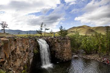 Orkhon idyllic landscape with waterfall
