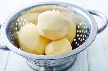 raw potato in the metal bowl