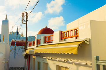Beautifull church rooftop in Mykonos island cyclades Greece