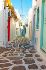 Beautifull narow alley in Mykonos island cyclades Greece