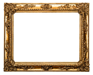 golden old frame isolated on white