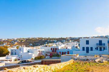 Rooftops of houses in Mykonos island cyclades Greece