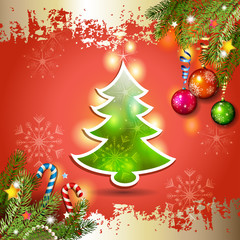 Christmas card with pine tree over red background