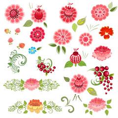Khokhloma floral set