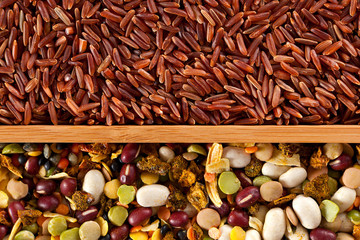 Set of beans, rice, lentils, spices for cooking in the kitchen
