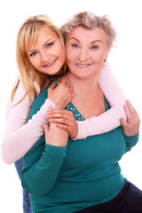 Happy granny and granddaughter together