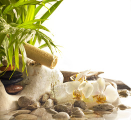 Orchids and zen stones with falling water spa concept background