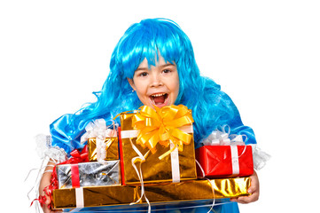 pretty girl dressed like Malvina with many gift boxes