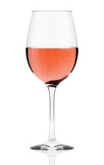 Rosè wine glass isolated