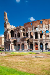 Colosseum in Beautiful Summer Day with Blue Sky (vertical shot)
