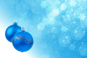 Blue christmas balls background