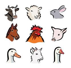 farm animals, set of vector icons