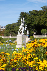 Statue and flowers in Luxembourg Gardens, Paris