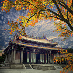 Traditional temple with nice maple