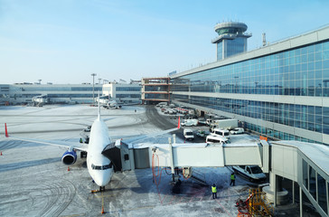 Foto op Aluminium Luchthaven Airplane in airport Domodedovo