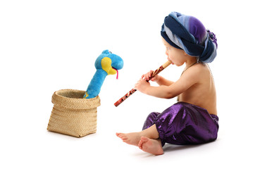 Charmer boy with pipe and snake