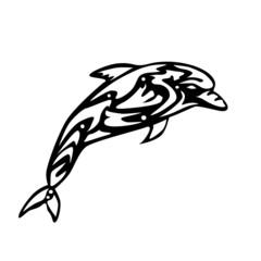 Black and White Dolphin Logo