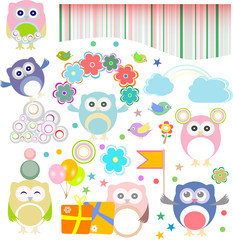 Set of birthday party elements with owls