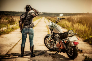 Wall Mural - Biker girl