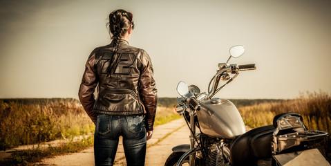 Fototapete - Biker girl