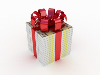 Gift with a red ribbon in the form of dollars