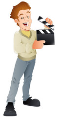 Movie Shooting - Vector Character Illustration