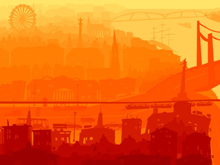 Abstract illustration of downtown city in sunset.