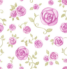 Artistic seamless pattern with watercolor flowers