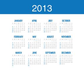 Simple calendar design for 2013