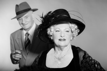 Good looking senior couple vintage style. Black and white.