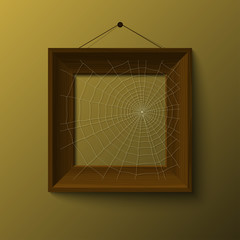 realistic retro frame with spiderweb, illustration