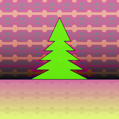 christmas tree silhouette on pink horizontal pattern vector card